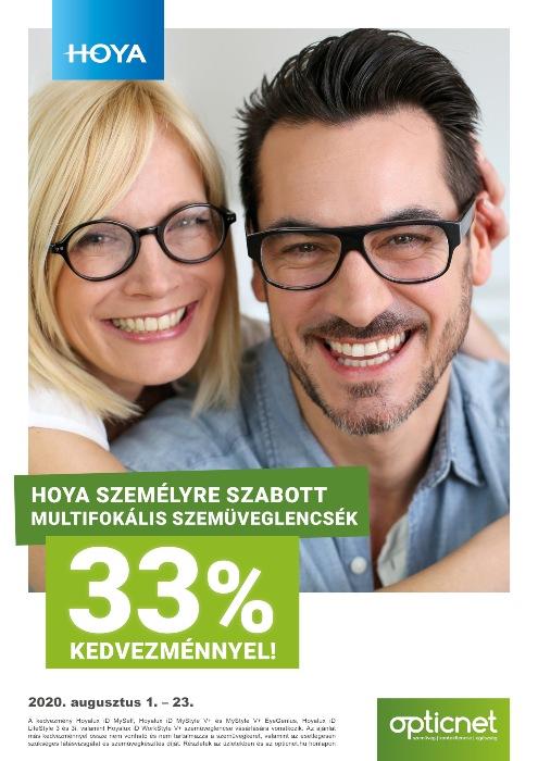 Hoya személyre szabott multifokális szemüveglencsék 33% kedvezménnyel!