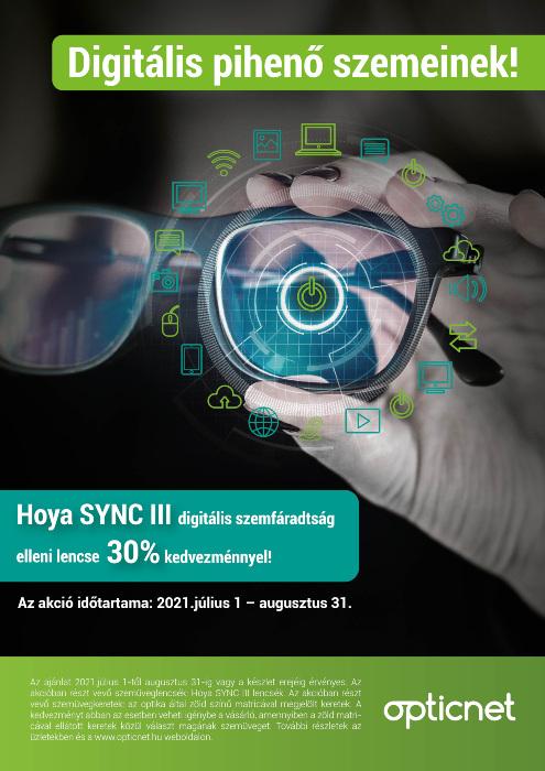 Hoya SYNC III digitális szemfáradtság elleni lencse 30% kedvezménnyel!
